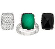 Judith Ripka Sterling Changeable Gemstone & Diamonique Ring - J323184