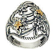 Carolyn Pollack Sterling Silver & Brass Desert Rose Ring - J324184