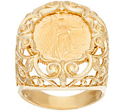 14K/22K Gold Liberty Coin Scroll Design Bold Ring - J324884