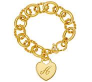 Judith Ripka 14K Clad Verona Heart Inital Bracelet 37.8g - J327584