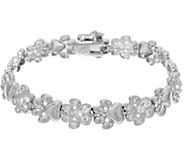 Diamonique Polished & Pave Paw Print Bracelet, Sterling - J329184