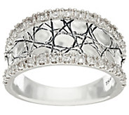 As Is JAI Sterling & White Topaz Concave Croco Ring - J331084