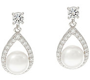 Diamonique and Cultured Pearl Dangle Earrings, Sterling - J331284
