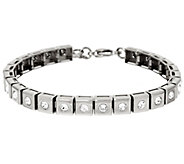 As Is Stainless Steel Polished Crystal Line Bracelet - J346384
