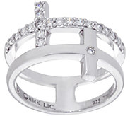 As Is Hallmark Sterling Cubic Zirconia Double Cross Ring - J346784