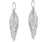 Italian Silver Sterling Diamond Cut 2 Twisted Earrings - J348084