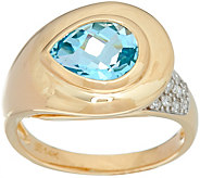 Pear Cut Gemstone & Pave Diamond Ring, 14K Gold 1.30 ct - J348684