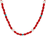 American West Cultured Pearl Turquoise and Coral Bead Necklace - J349084