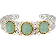 Burmese Jade Oval 3-Stone Sterling Silver Cuff - J349284