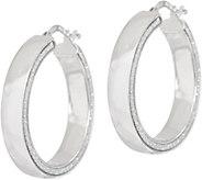 Italian Silver Polished Glitter Round Hoop Earrings Sterl. - J349884