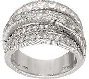 Judith Ripka Sterling Multi Row 2.40 cttw Diamonique Ring - J352284