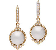 Judith Ripka 14K Gold Cultured Mabe Pearl and Diamond Earrings - J381184