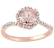 14K Gold 1.20 cttw Round Morganite & Diamond Floral Halo Ring - J382484