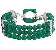 As Is Smithsonian Green Agate and Topaz Sterling 7-1/4 Bracelet - J285985