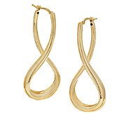 Veronese 18K Clad 2 Elongated Twist Hoop Earrings - J290185