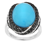 Oval Turquoise & 0.80 ct tw Pave Black Spinel Sterling Ring - J293385