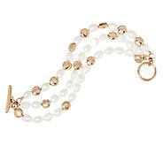 Honora Cultured Pearl 8.0mm Baroque Triple Strand Bronze Bracelet - J293985