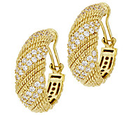 Judith Ripka Sterling & 14k Clad Diamonique Twisted Berge Hoop Earrings - J296485