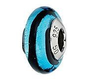 Prerogatives Black & Blue Stripes Italian Murano Glass Bead - J300185