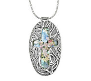 Or Paz Sterling Roman Glass Cross Pendant withC hain - J303885