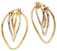 As Is EternaGold Tri- color Twist Tube Hoop Earrings, 14K - J320385