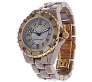 As Is Isaac Mizrahi Live! Goldtone Ceramic Link Watch - J322185