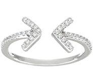 Diamonique 1/7 cttw Double Arrow Ring, Sterling Silver - J324885