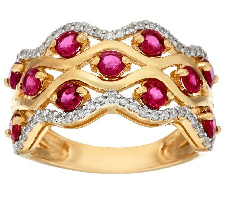 Exotic Gemstone & Diamond Wave Design Band Ring, 14K Gold