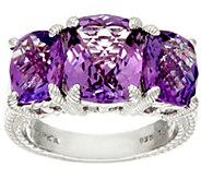 Judith Ripka Sterling 6.50 cttw Amethyst 3-Stone Ring - J328085