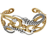 Sterling and Brass Scroll & Leaf Design Cuff by American West - J329185