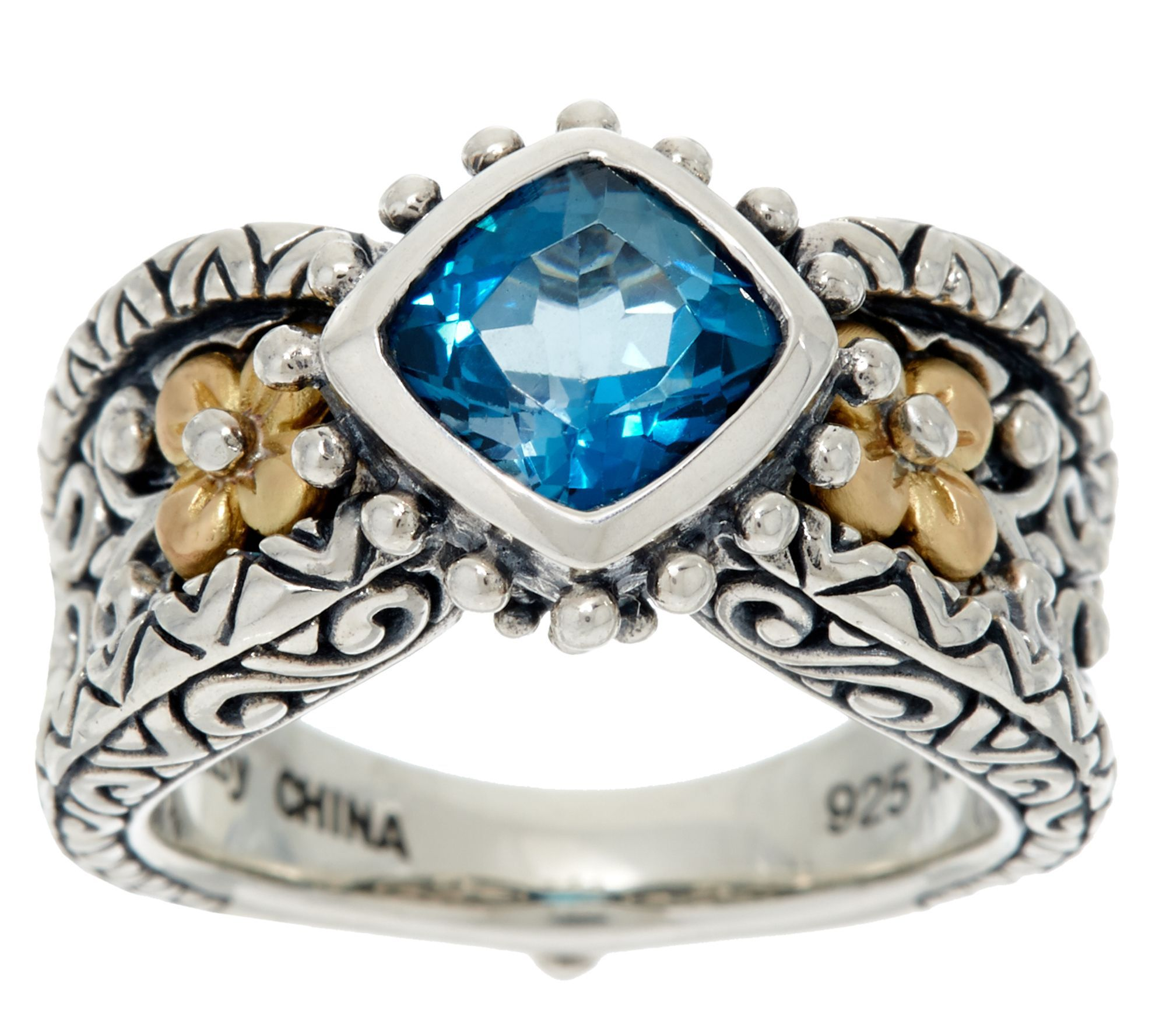 Barbara Bixby Sterling & 18K 1.30 ct London Blue Topaz Ring