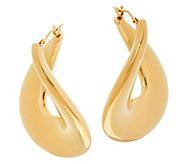 As Is Oro Nuovo Bold Polished Flat Twist Hoop Earrings 14K - J330785