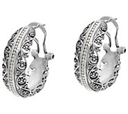Sterling Silver Lace & Bead Hoop Earrings by Or Paz - J333185