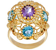 As Is Arte d Oro 5.00 ct tw Multi-Gemstone Oval Ring 18K Gold - J333585