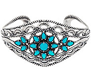 Bold Sterling Sleeping Beauty Turquoise Cuff Bracelet by American West - J334085