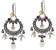 Barbara Bixby Sterling & 18K Cultured Pearl & Rhodolite Drop Earrings - J334185