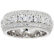 Diamonique Triple Row Eternity Band Ring, Platinum Clad - J334885