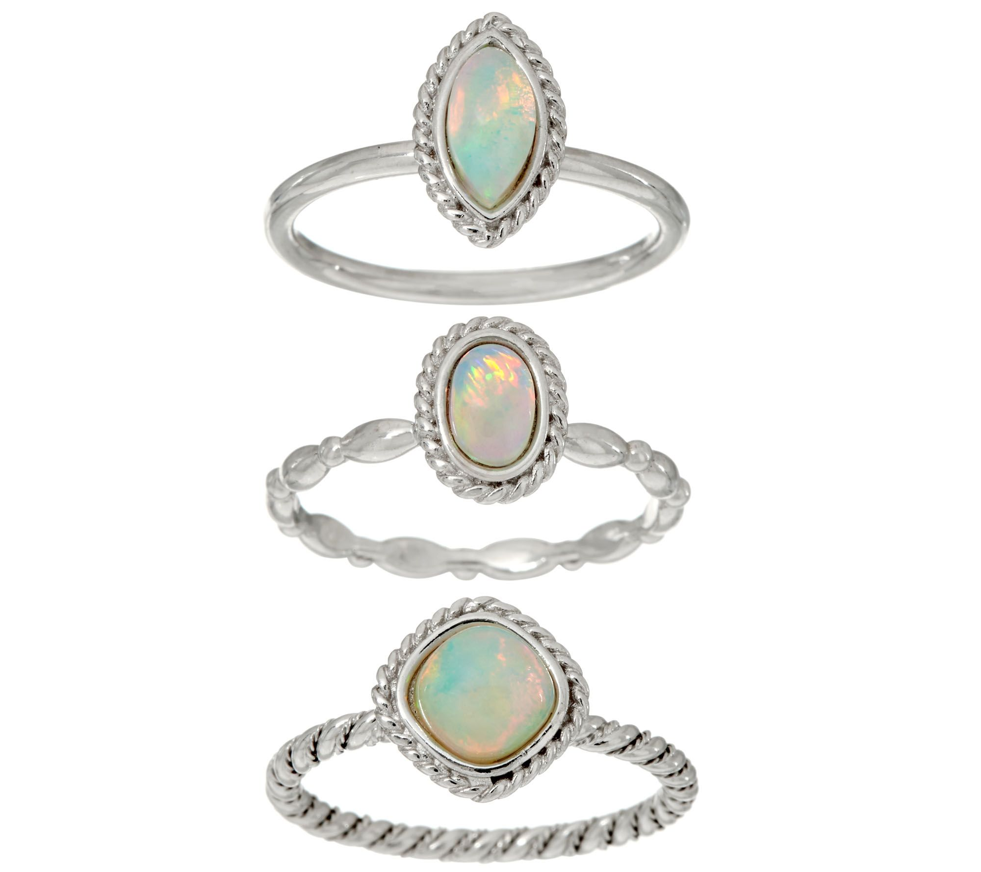 opal sterling siver set of 3 stack rings page