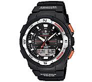 Casio Mens Twin Sensor Analog-Digital Orange-Accented Watch - J338585