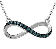 Blue Diamond Infinity Pendant, 1/7 cttw, Sterling, by Affinity - J339385