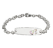 Honora Girls Sterling & Pink Mother-of-Pearl IDBracelet, 6 - J339885