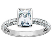Diamonique Sterling Bezel-Set Rectangle Solitai re Stack Ring - J340785