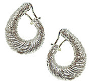 Judith Ripka Sterling Textured Half Hoop Earrings - J341185