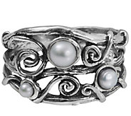 Sterling Cultured Pearl Swirl Ring by Or Paz - J341585