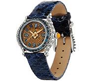 Barbara Bixby Citrine Pave Face & Blue Topaz Leather Watch - J341885