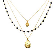 Satya Gemstone, Tree, and Lotus Triple Strand Necklace, Brass - J342785