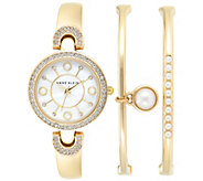 Anne Klein Womens Faux Pearl Goldtone Bangles & Watch Set - J342985