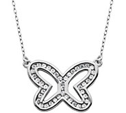 Diamonique 6/10 cttw Open Butterfly 18 Necklace, Sterling - J343785