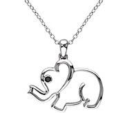 Black Diamond Accent Elephant Pendant w/ Chain,Sterling - J343885