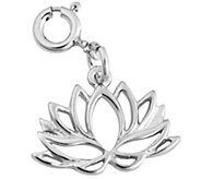 Sterling Silver Lotus Flower Outline Charm - J343985